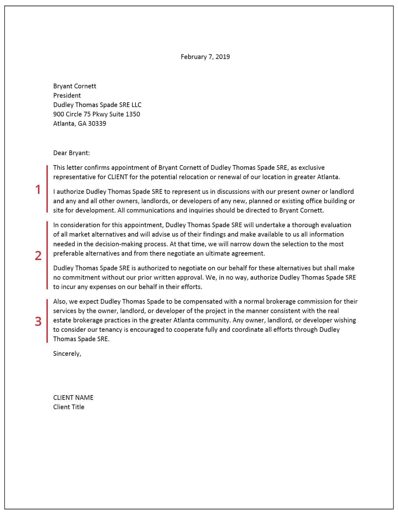 Example Commercial Real Estate Engagement Letter